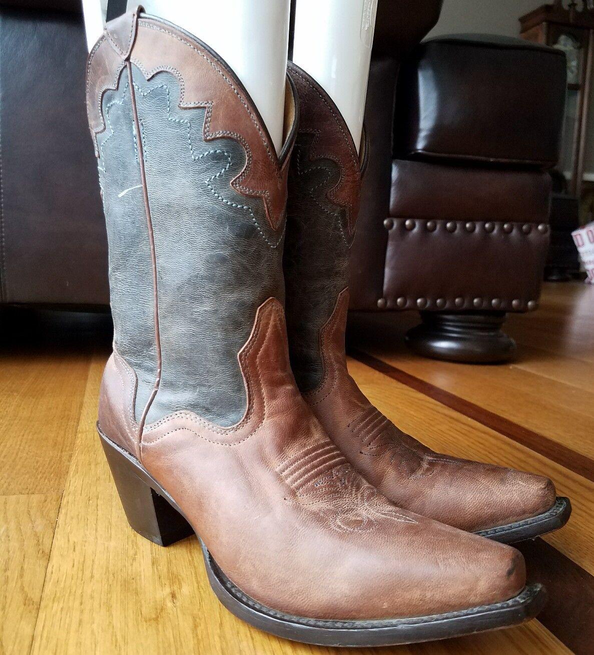 JB DILLON Woman's Cowboy Stiefel Genuine Goat Leder Two Tone Western Größe 6.5 B