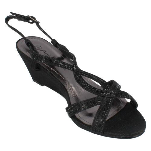 24 99 £ tessuto Michelle nero con F1r0851 Anne Sandalo zeppa di Ladies in con glitter tacco 0O6xwZA