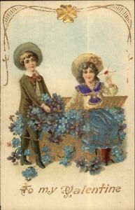 Valentine-Children-Purple-amp-Blue-Flowers-Foil-Finish-c1910-Postcard