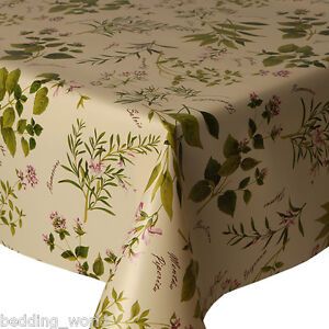 Image Is Loading PVC TABLE CLOTH HERB GARDEN GREEN LILAC CREAM