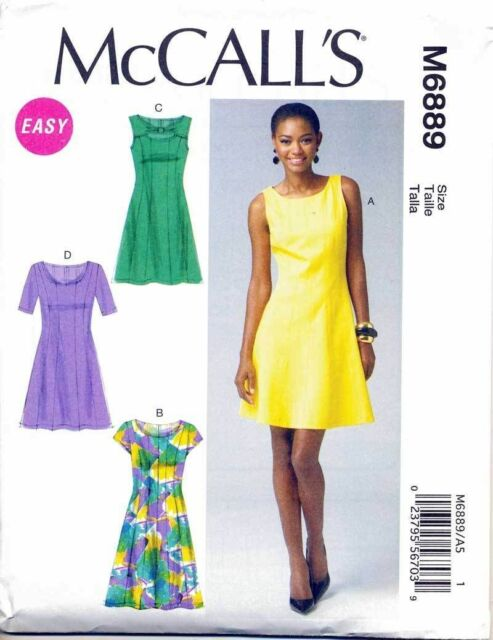 MCCALL'S SEWING PATTERN 6889 MISSES 6-14 FIT & FLARE DRESS W/ SLEEVE VARIATIONS