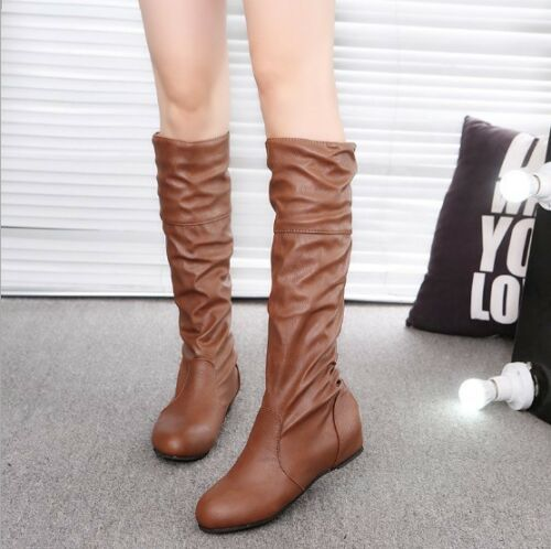 Details about  /Plus Size Ladies Flat Heels Boot Trendy Solid Women Long Boots European Style