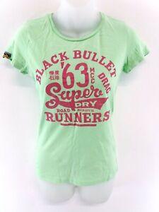 Haut-Femme-Superdry-T-shirt-Top-XS-en-Coton-Vert