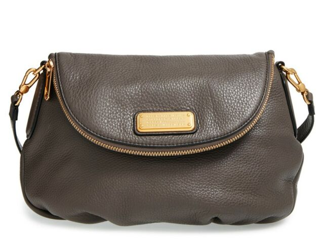 New Marc By Jacobs Original Q Natasha Leather Crossbody Bag Dark Grey