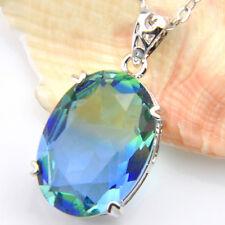 20 Ct Handmade HUGE London Blue Topaz Gems Vintage Silver Necklace Pendants