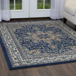 Image Is Loading Traditional Oriental Blue Bordered Area Rug Free Shipping