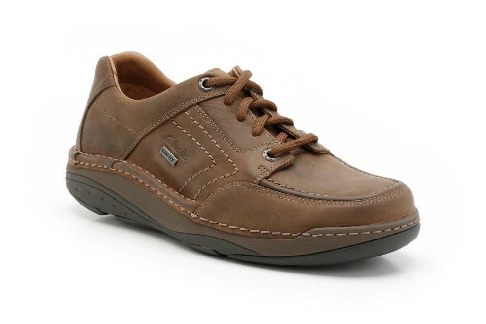 Clarks Mens Movers Lo Gtx Tobacco Lea, Active Air Flow G
