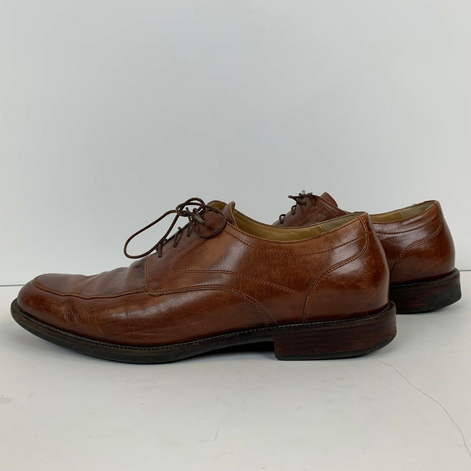 Johnston And Murphy Mens Sheepskin Lace Up Oxfords Size 9.5M Brown 5913502