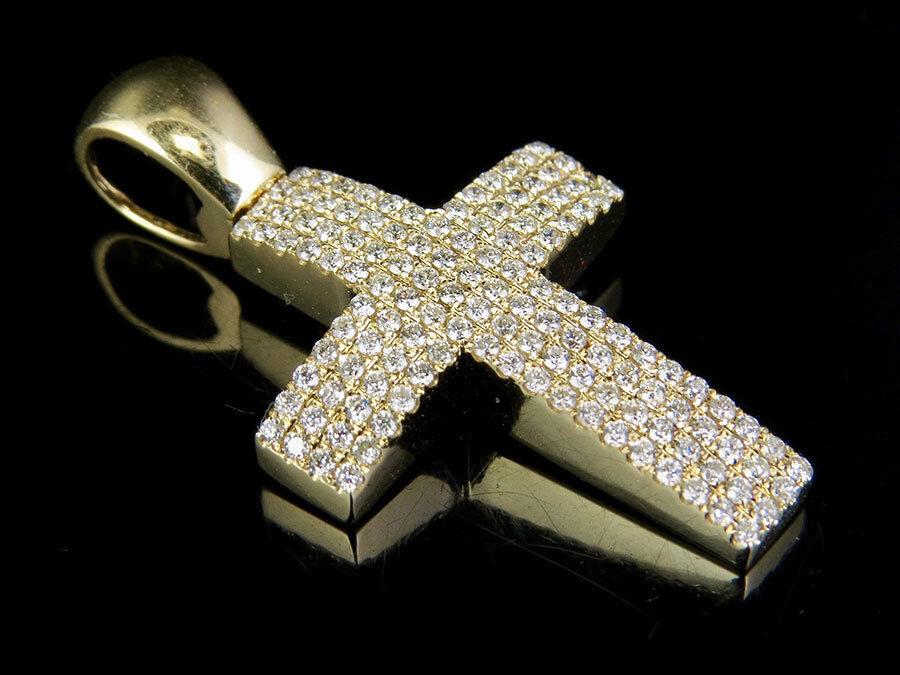 Men's 14K Yellow gold Genuine Diamond Pillow Dome Cross Pendant 1.0 ct 1.35