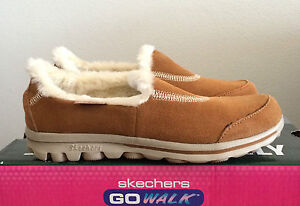 Details about Skechers go walk toasty girls youth chestnut brown leather shoes slip on size 1