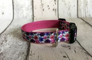 Dog-Collar-Multi-Flower-Design-Funky-Pet-Supply-Gift-Xmas-Handmade-Unique