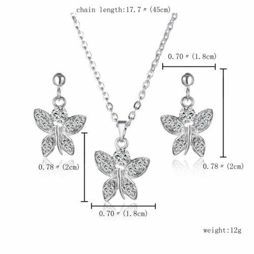 Élégant Cristal Strass Fleur Papillon Dragon Collier Boucles d/'oreilles Bijoux Set