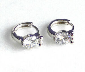 Details About Women Small Huggie Earrings Sparkle Cubic Zirconia Crystal White Gold Plated Uk