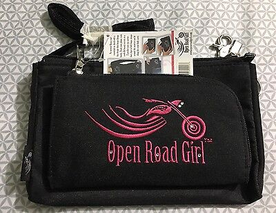 Open Road Girl Pink and Black Biker Motorcycle Canvass Hip Purse
