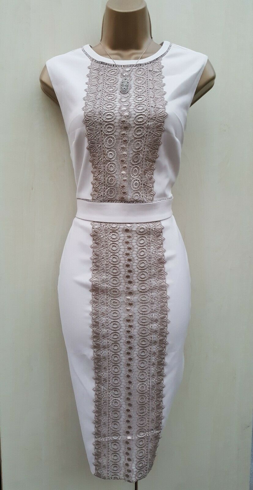 Size 10 UK Stunning Phase Eight Cream Beige Pencil Dress Wedding Occasion Party