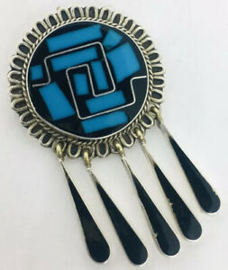 Beautiful-Vintage-Taxco-Sterling-Silver-Inlaid-Brooch-Turquoise-Onyx-Dangles
