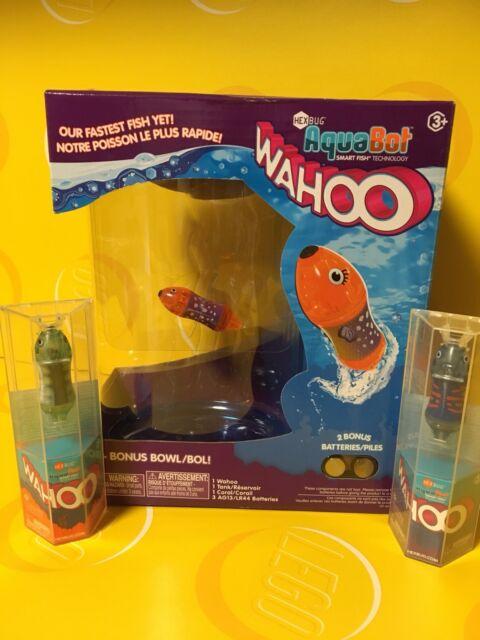 3 HEXBUG Aquabot Wahoo Smart Fish Bonus Bowl & 2 Extra Batteries   U Pick