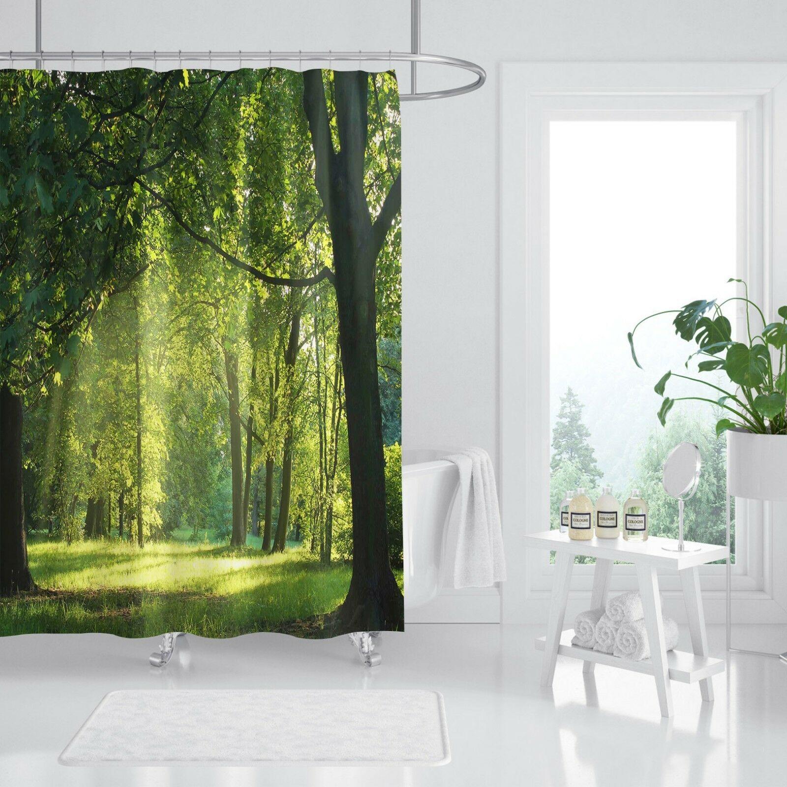 3D Sunshine Woods 89 Rideau de Douche Imperméable Fibre Salle De Bain Windows Toilette