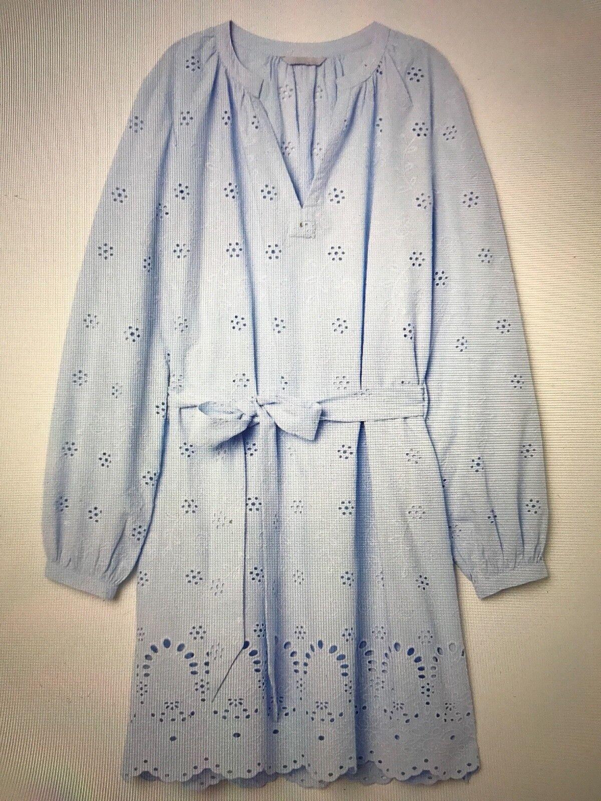 NWT Elegant & Beautiful H&M SKY blueE blueE blueE BRODERIE ANGLAISE Long Sleeves DRESS Size L e8deb8