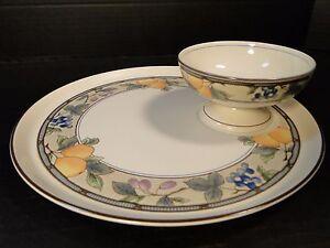 Mikasa Garden Harvest 2 Piece Crudite Chip Dip Platter Bowl Intaglio Cac29 Mint Ebay