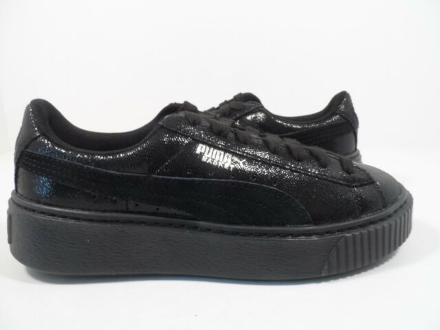 PUMA Basket Platform NS Womens Black Leather Lace up SNEAKERS Shoes ... bd4cfc835