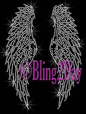 Huge Angel Wings - Custom Color - Rhinestone Iron on Transfer Hot Fix Bling DIY