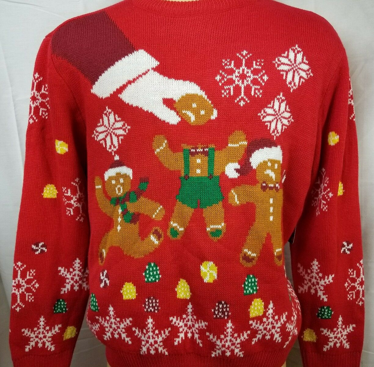 Men's Ugly Christmas Sweater Party 2XL Gingerbread Man BROK No Head Funny Santa