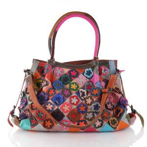 4b12592a1a9eb Das Bild wird geladen Ital-Leder-Schulter-Umhaenge-Tasche-Shopper-Patchwork- Blumen-