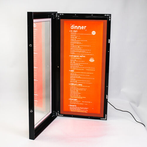 LED Outdoor Waterproof Slim Menu Poster Display Light Box 40cm*80cm*4cm Black