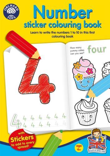 Orchard Toys Nombre KID//ENFANT éducatif Autocollant activité//livre de coloriage BN