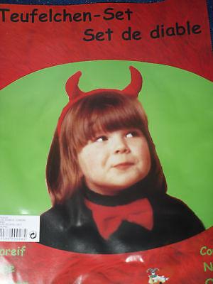 Umoristico Diavolo Set 3 Pezzi Helloween Capelli Maturi Mosca Coda 3-6 J. Nuovo-mostra Il Titolo Originale
