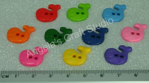 Great for Sewing /& Many Craft Projects 30 Whale Bright Novelty Buttons New