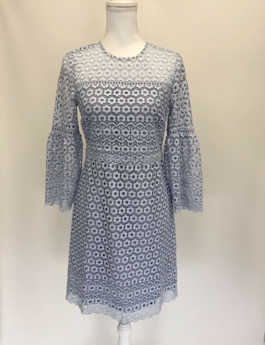 New J.Crew Daisylace Bell-sleeve Dress Faded Peri bluee Size 8 G7801  188