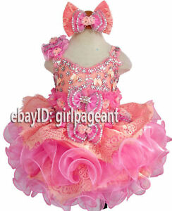 Infant//toddler//baby peach//pink glass Crystals beading  Pageant Dress G274