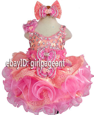 Infant//toddler//baby Halter Heavy Beading Crystals Glitz Pageant Dress G284-6