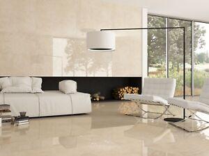 Cream Marble Gloss Polished Porcelain Tiles 60x60 Wall Floor Bathroom Kitchen Ebay