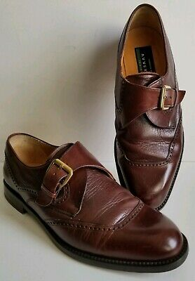 Fashion Mens Dress Shoes Monk Strap Dress Gentry Real Leather Double Brown Shoes