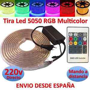 Tira-de-Led-220v-5050-RGB-con-Mando-IMPERMEABLE-Waterproof-IP67-strip-230V