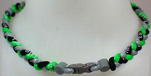 NEW-20-034-Custom-Clasp-Braided-Sports-Neon-Green-Gray-Grey-Black-Tornado-Necklace