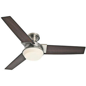 52 Quot Brushed Nickel Led Indoor Ceiling Fan With Light Kit