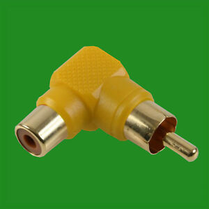 Right-Angle-Yellow-RCA-Phono-Adaptor-Audio-Plug-to-Socket-Gold-Plated-Contacts