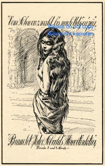 Sebald Haartinktur Reklame von 1926 lange Haare Schwarzwald ad Werbung Shampoo