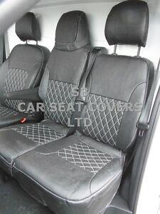 TO FIT RENAULT TRAFIC SPORT VAN SEAT COVERS 2016 CROSS STITCH BLK