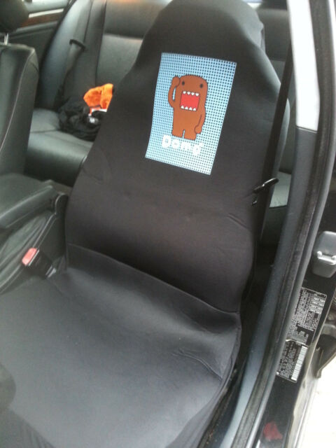 Domo Kun Universal Fit Car Seat Cover Driver Passenger Black 1 pc Japanese