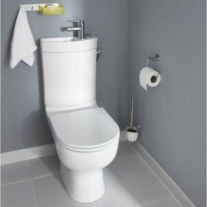Details zu Design Stand Wc komplett set Spülkasten KERAMIK inkl.  Waschbecken Gäste WC