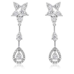 5d80cc39c7bbb Details about 14K WHITE GOLD DIAMOND DANGLING TEARDROP TEAR DROP DANGLE  EARRINGS
