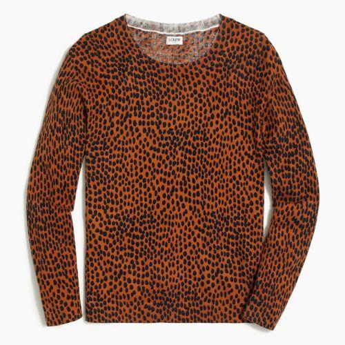 J Crew Womens 2X Plus Oncilla Cotton Teddie Sweater Sunset Orange Navy Blue