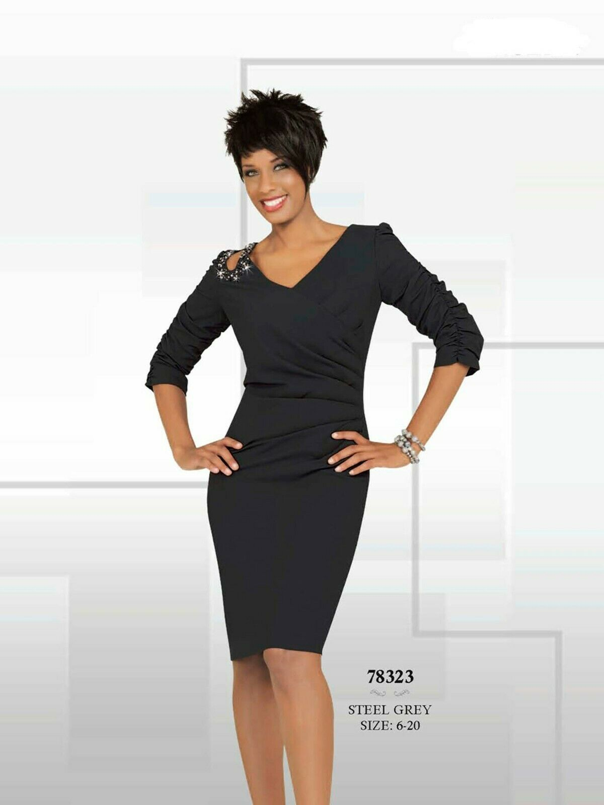 Mother of Bride Women's Cocktail Dress Knee Length Beaded 3/4 Sleeves Gray 6