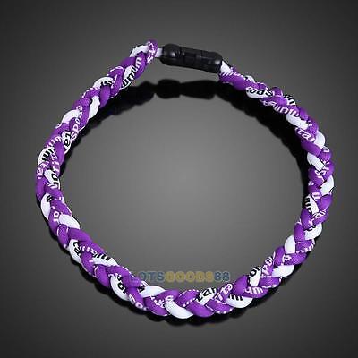Titanium Ionic Sports Baseball Necklace 3-Rope Braided Necklace 4 Size LS4G