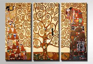 Klimt-L-039-Albero-dell-Vita-3-pz-120x90-Stampa-su-TELA-Cotone-Vernice-Pennellate